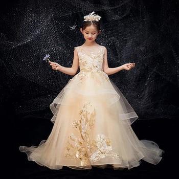 2019High-Grade New Arrival Children Girls Piano Guzheng Costume Princess Long Tail Dress Kids Teens Birthday Evening Party Dress