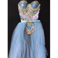 female singer sexy costumes bodysuit sets sequins crystals jumpsuit stage show for nightclub dj party prom jazz dancer