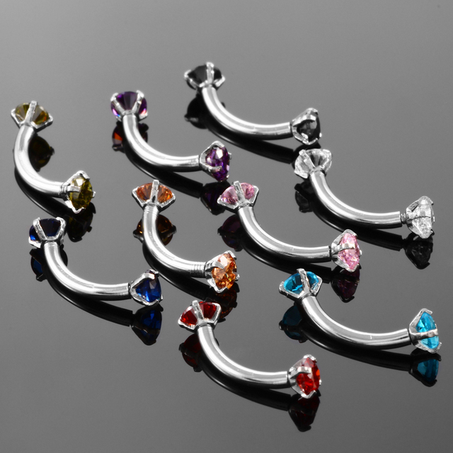 1pc Steel Eyebrow Rings 16G Internally Threaded Earring Tragus Crystal Eyebrow Ring Curved Barbell Piercing Double Gems 10Colors 3