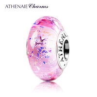 ATHENAIE Genuine Murano Glass 925 Silver Core Christmas Lucy Star Clear CZ Charm Bead Fit All