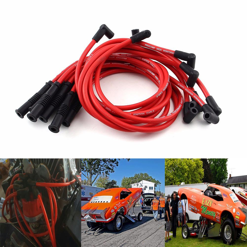 Car 10.5mm High Performance Spark Plug Wire Set for HEI SBC BBC 350 383 454 Electronic CSL2017