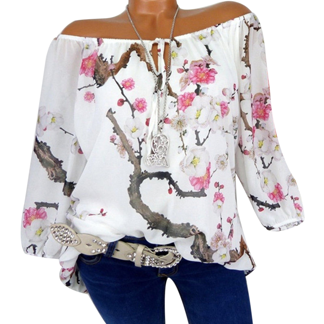 New Women Blouses Floral Printed Tops Casual Long Sleeve Loose Ladies Office Off Shoulder Shirt Tee Plus Size 5XL Blusas Z4