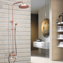 цена на Antique Red Copper Shower Bath Faucet Sets Wall Mounted EXposed 7.7 Rainfall Shower Mixers with Handshower zrg562