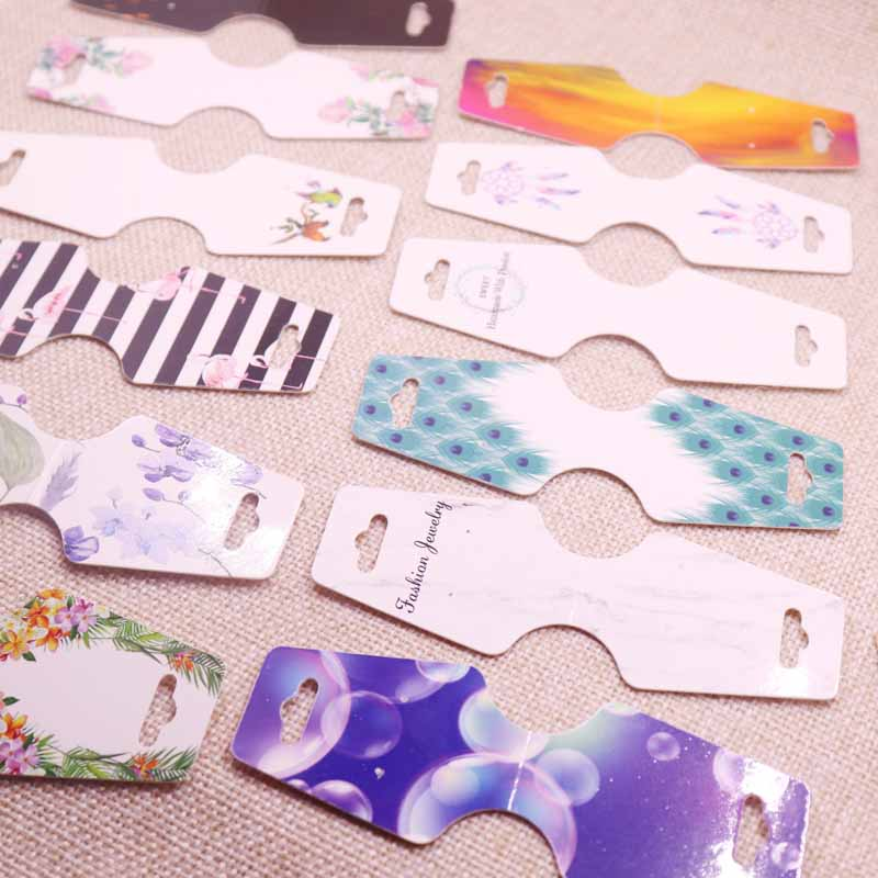 24pcs Beauty Gift Jewelry Display Cards Paperboard Kraft Solid 5colors Colorful Design Printing Bracelet Hair Clip Card12 4 5cm in Gift Bags Wrapping Supplies from Home Garden