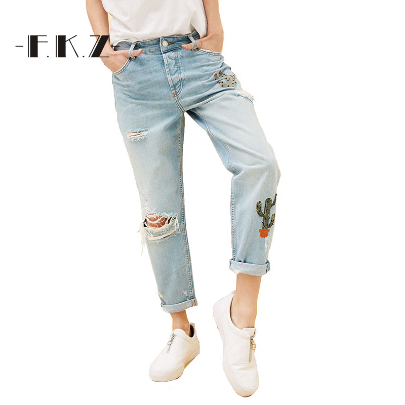 ФОТО FKZ New Jeans Women Ankle-Length Straight High Waist Jeans Fashion Lady Ripped Loose Fashion Embroidery Designer Trousers SKJ021