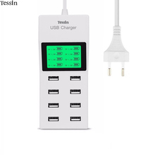 TESSIN 8 Port USB Charger Power 5V8A LCD Display For iPhone 5 5S 6 6S 7 Plus iPad Samsung Nexus Huawei Mi ZTE LG AC Adapter