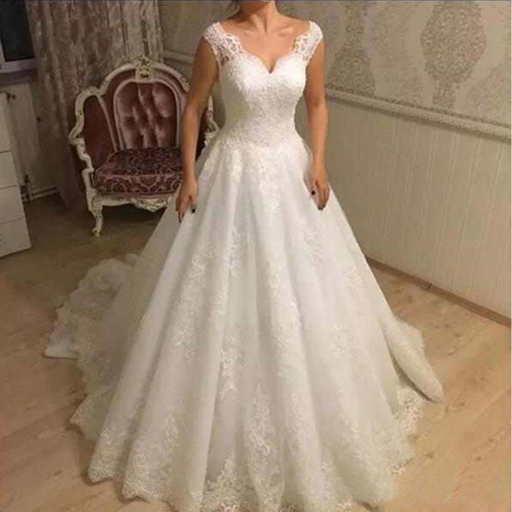 Vestidos De Novia Elegant A-Line Appliques Wedding Dresses V Neck Backless With Lace Up For Bridal Customized Tulle Bridal Gowns