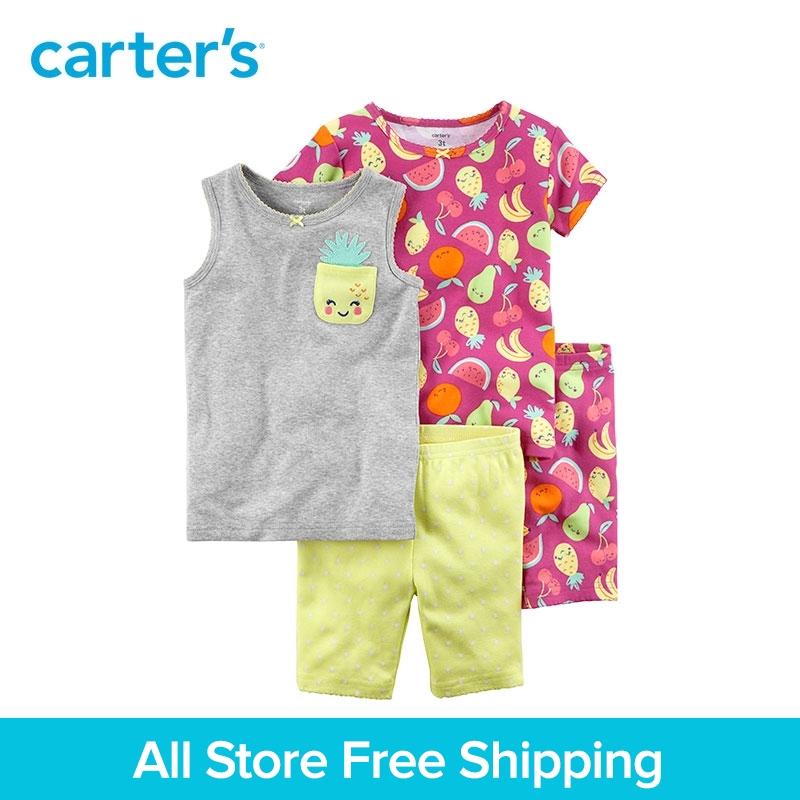 Carter's 4-Piece baby children kids clothing Girl Summer Fruit Snug Fit Cotton Pajamas 23623212 cami satin two piece summer pajamas