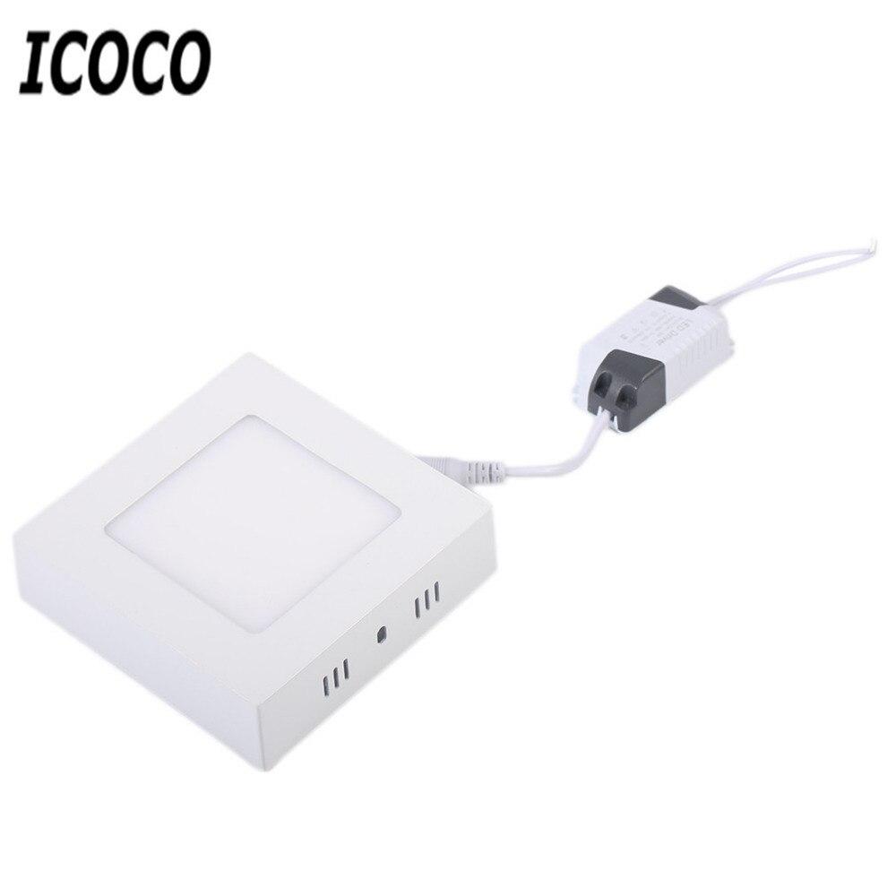 ICOCO 6/12/18/24W Embedded Square LED Panel Light LED Flush Mounted Ceiling Down Panel Light Kitchen Bathroom Lamp AC90-265V
