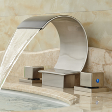Luxury Waterfall Basin Sink Mixer Faucet Dual Handle Brushed Nickel Finish