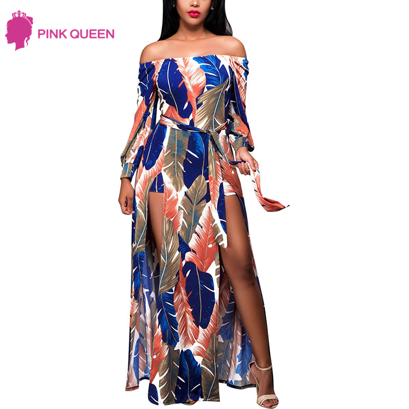 Pink Queen Onepiecer Jumpsuit Beach Women Sexy Combinaison 2018 Off The Shoulder Long Sleeve Print Sash Female Jumpsuit in Women
