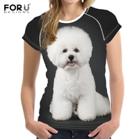 FORUDESIGNS Cute Puppy Bichon Frise Print Woman's Summer T Shirts Brand Clothing O Neck Short Sleeve Tees Fitness Girl T shirts