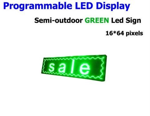FREE SHIPPINGLED Electronic Scrolling Display Message Billboard Green LED Sign Semi-outdoor Advertising Board 16*64pixel 25*73cm
