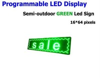 FREE SHIPPINGLED Electronic Scrolling Display Message Billboard Green LED Sign Semi outdoor Advertising Board 16*64pixel 25*73cm