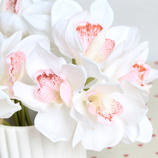 6 heads artificial flowers real touch silk fake orchid flower diy 6 heads artificial flowers real touch silk fake orchid flower diy wedding home decoration bouquet butterfly mightylinksfo