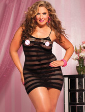 Lethal Dose Black Striped Fishnet Mini Chemise Dress