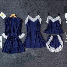 Daeyard kadın Pijama Sexy Lingerie yaz Pijama 4 adet ipek Cami seti dantel elbise gecelik rahat ev takım elbise Pijama pjs seti