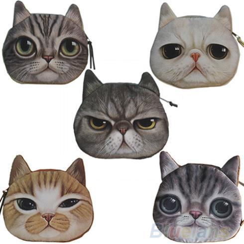 New Cute Cat Face Zipper Case Coin Purse Wallet Makeup Buggy Bag Pouch  1DPL