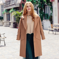 2017 Autumn Winter High End Camel Single Breasted Woolen Coat Fashion Women S Clothing Turn Dowm
