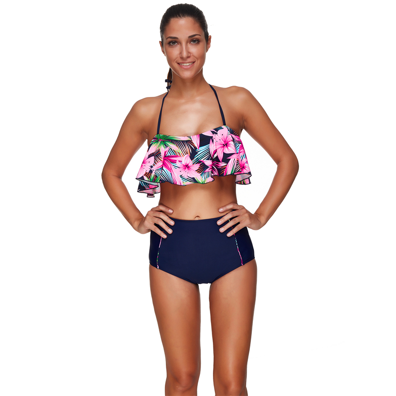 Sexy Bikini 2019 Plus Size Printed Floral Ruffle High Waist String Swimsuit Women Swimwear Bathing Suit Beach Wear Biqunie S 3XL in Bikinis Set from Sports Entertainment