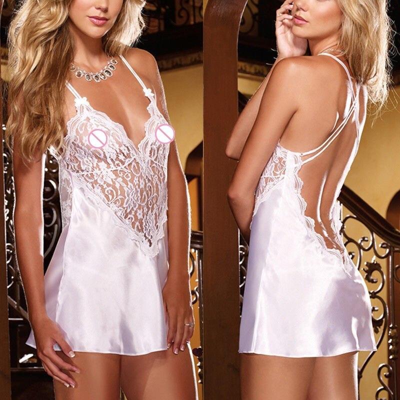 New Style Women  Babydolls Sexy Women Lace Underwear Nightwear Pure Color Sleepwear Backless Bodysuit Lingerie Silk Babydoll
