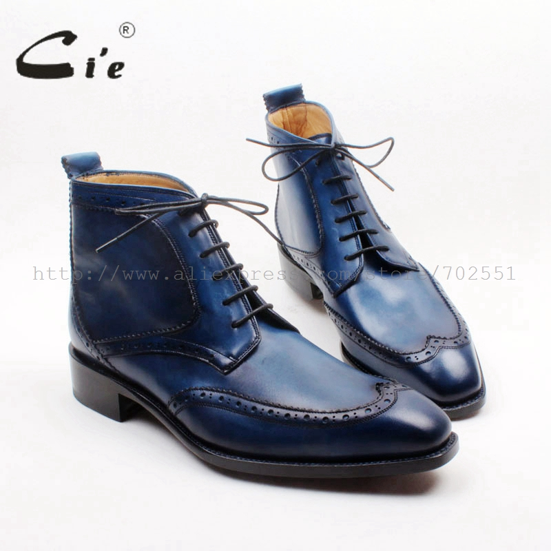 cie Square Toe Wing tips Lace up Handmade Hand Painited Navy 100 Genuine Calf Leather Goodyear