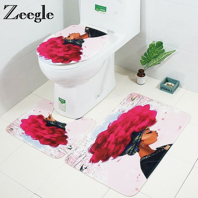 Zeegle 3pcs Bathroom Mat Set African Woman Pattern Bath Mat Non-slip Doormat Bathroom Rug Toilet Mats Flannel Toilet Seat Cover