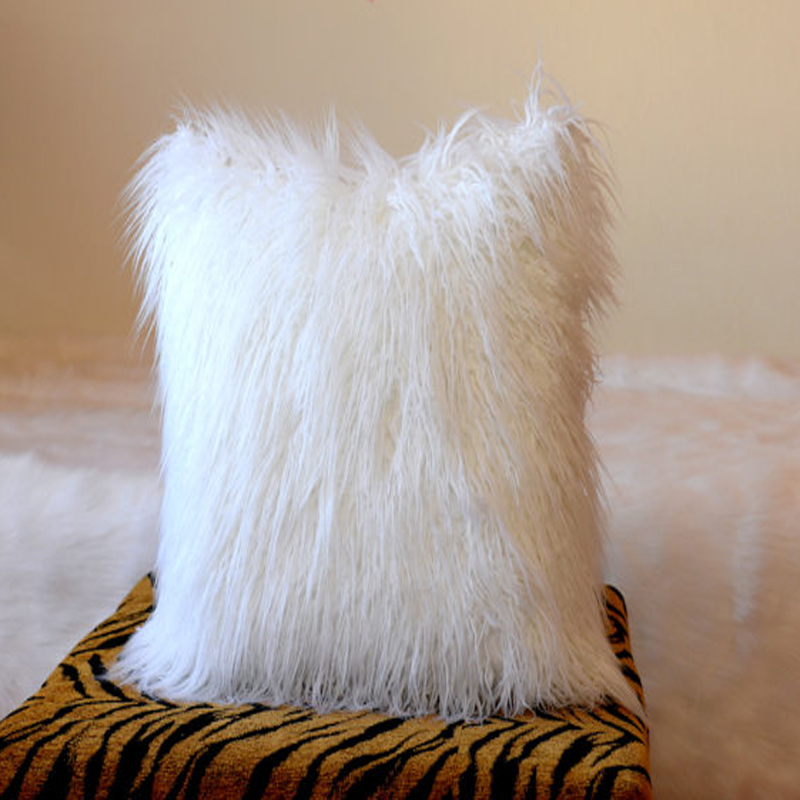 White Faux Mongoilan Fur Pillow Cover Decorative Pillows Cushion