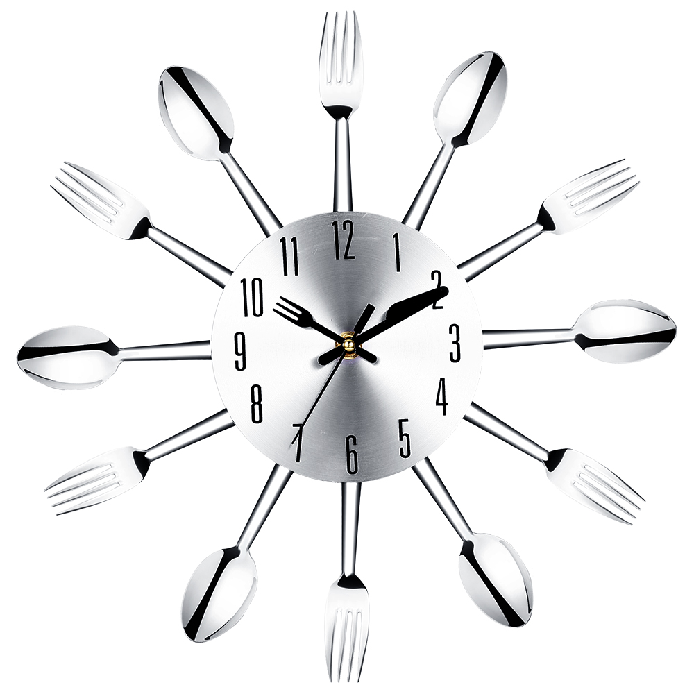 PHFU Stainless steel knife and fork spoon kitchen restaurant wall clock Home Decoration