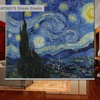 MOMO Blackout Van Gogh Window Curtains Roller Shades Blinds Thermal Insulated Fabric Custom Size, Alice 561 568