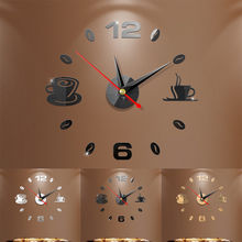 Clock Mirror kitchen Sticker DIY Acrylic Modern  Clock Cup Shape Wall Sticker Numeral Clock Home Decor