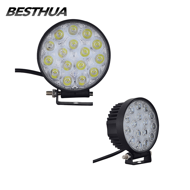 4Pcs 48W LED Work Light Spot/Flood Round LED Offroad Light Lamp Work Light for Off Road ATV SUV 4WD Motorcycle Headlight 12V 24V