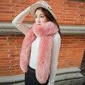 Marca de moda de invierno bufanda mujeres largo grueso collar bufanda de la piel de Imitación de lana castor conejo bufandas nueva llegada caliente cape echarpe