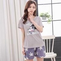 Summer Cotton Short Sleeved Pajamas Sets Women Striped Pajamas Sweet Girl Sleepwear Cartoon Loungewear Pyjama Femme