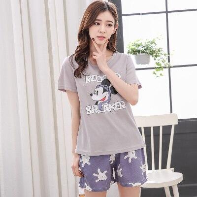 Summer Cotton Short Sleeved   Pajamas     Sets   Women Striped   Pajamas   Sweet Girl Sleepwear Cartoon Loungewear Pyjama femme 3XL Clothing