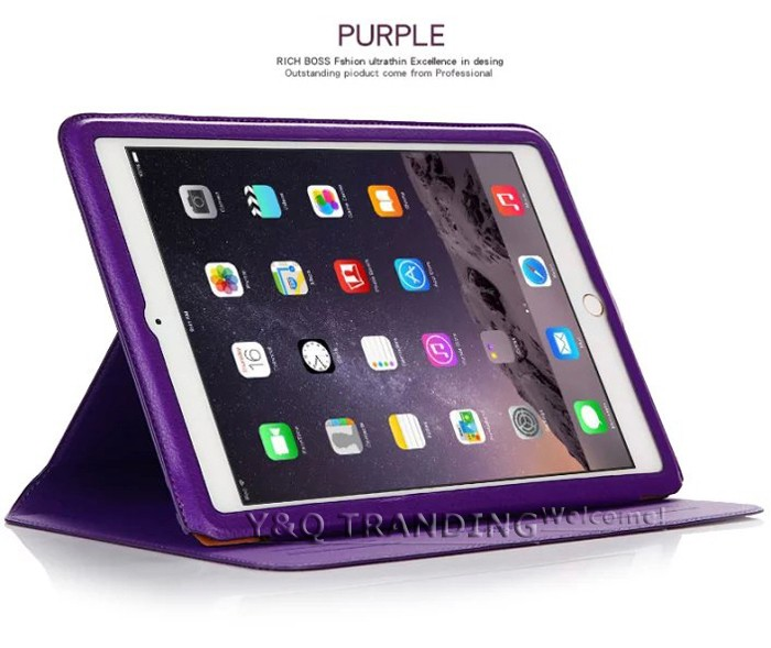 Ultrathin Cowhide Genuine Leather Case for Apple iPad Real Leather Business Stand Smart Cover for iPad  (2)