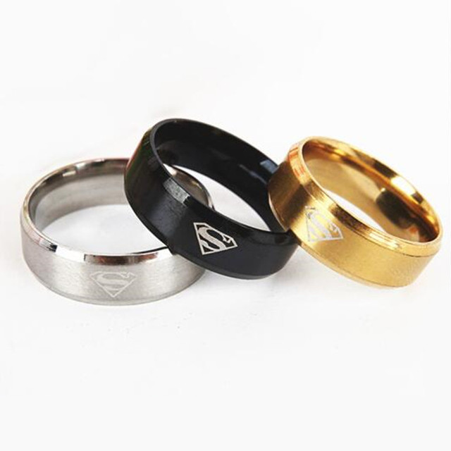 Hot Wholesale Classic Stainless Steel Superman Symbol Rings Fashion Men's Sand F