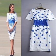 100% Real Picture Kate Middleton Dresses Cotton Linen Party Bodycon Half Sleeve Print Blue Pencil Women Dress Plus Size S-3XL