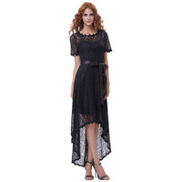 2017 Summer Women Sexy Floral Lace Short Sleeves High Low Hem Dress Elegant Ladies Evening Party