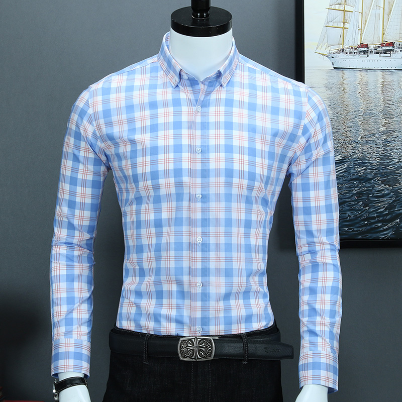 High Grade Pure Cotton Casual Plaid Shirts For Business Men Turn Down Collar Long Sleeve No Chest Pocket Soft Checked Shirts