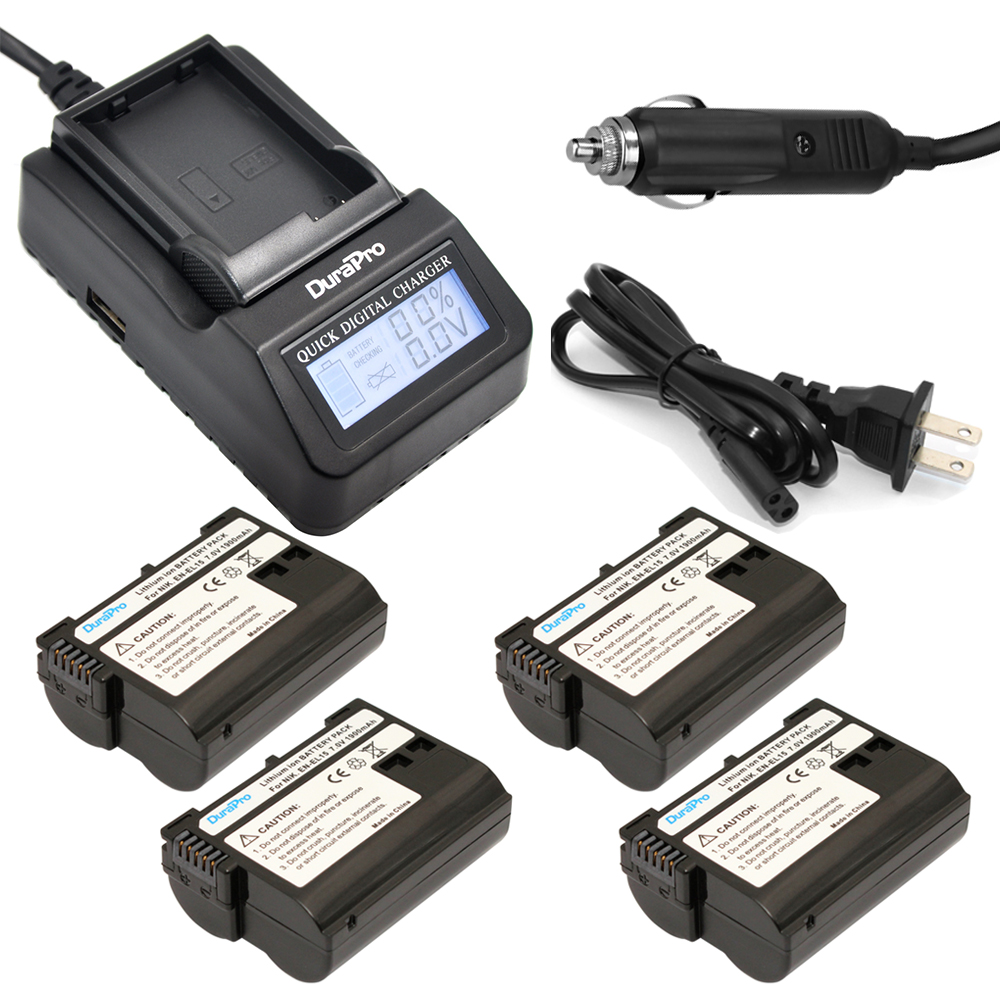 4pc EN-EL15 ENEL15 ENEL15 Rachargeable Li-ion Battery + LCD Quick Charger For Nikon D600 D610 D600E D800 D800E D810 D7000 D71004pc EN-EL15 ENEL15 ENEL15 Rachargeable Li-ion Battery + LCD Quick Charger For Nikon D600 D610 D600E D800 D800E D810 D7000 D7100