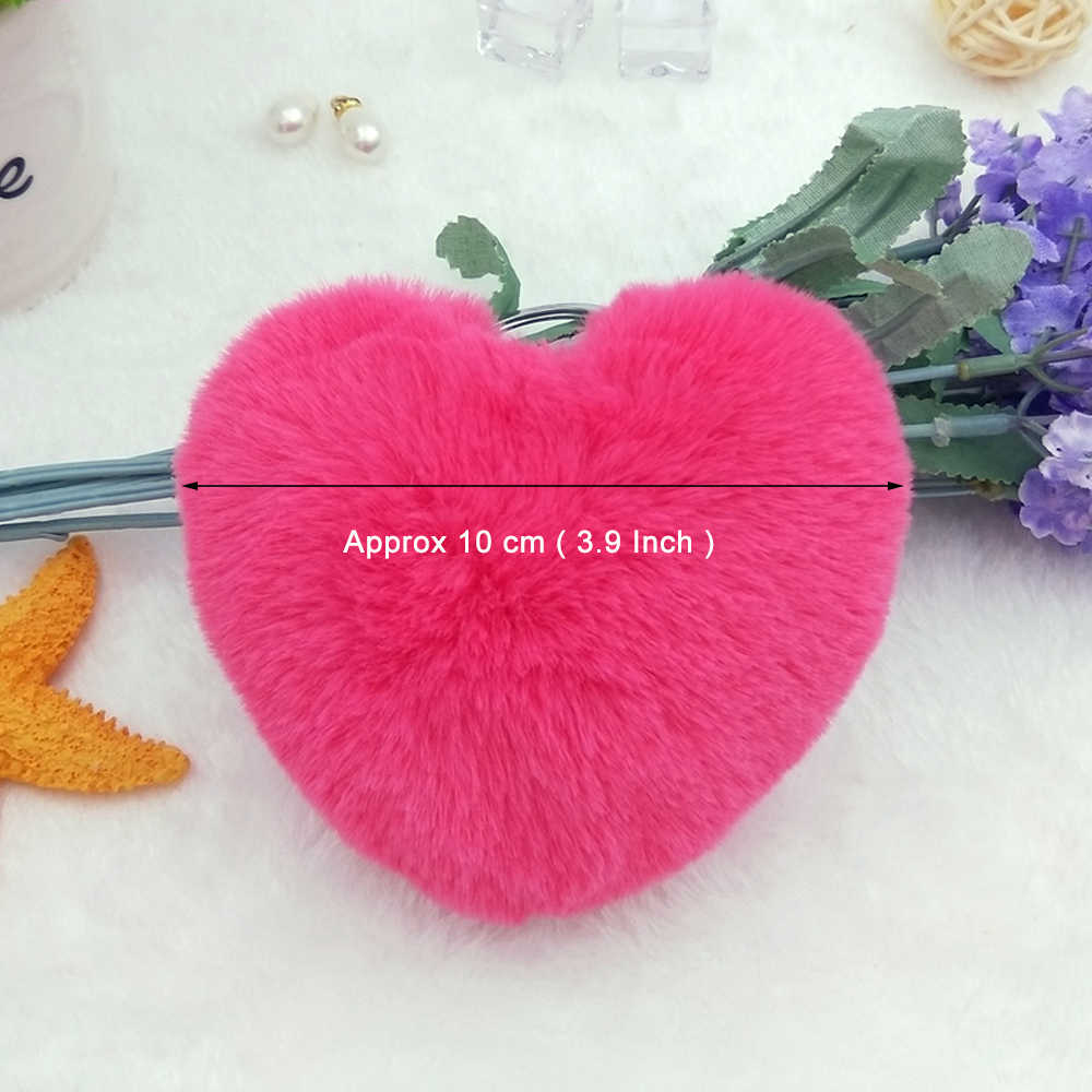... 10CM Cute Fluffy Heart Keychains Women s Pom Poms Faux Rex Rabbit Fur  Key Chains Girl Bag ... 214416459d08a