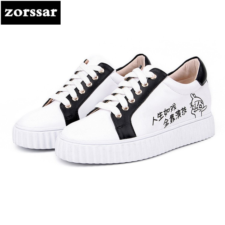 {Zorssar}2018 Spring New Genuine cow Leather women sneakers Casual flat Shoes Fashion Female Casual Lace-up flats Shoes for girl instantarts casual women s flats shoes emoji face puzzle pattern ladies lace up sneakers female lightweight mess fashion flats