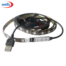1m 5V USB 5050 RGB LED Strip 60LEDs/m TV Background Lighting black PCB strip