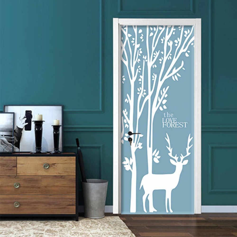 90x200 см/77x200 см мультфильм девушка дверь наклейки для гостиной Детская комната креативный обновленный обои домашний декор самоклеющиеся плакат