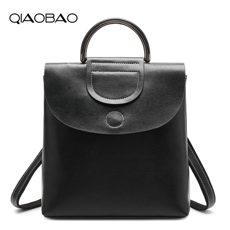 QIAOBAO Newest 2018 Genuine Leather Backpack Women Bags Preppy Style Backpack Girls School Bags Hasp Cowhide Leather Back qiaobao qiaobao japan and korean style genuine leather women backpack vintage school backpack for girls brand designer bags best