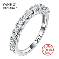 New Summer Fashion Solid Silver Rings Set AAA CZ Diamant Wedding Rings For Women Pure 925