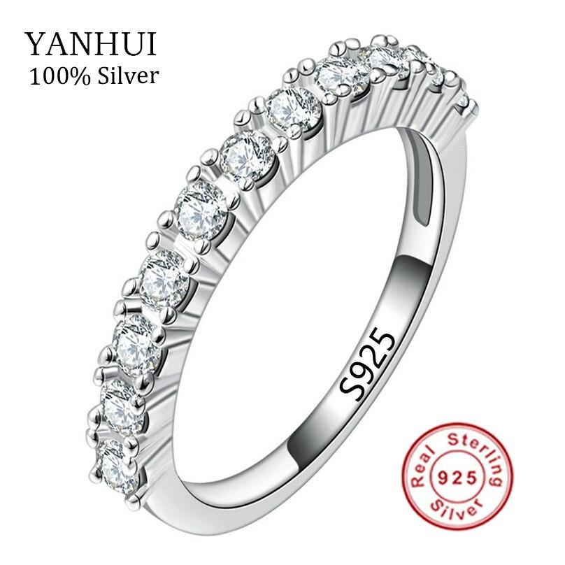 Prix pour Nouveau Mode D'été Solide Argent Anneaux Ensemble AAA CZ Diamant Anneaux de mariage Pour Les Femmes Pur 925 Bague En Argent Bijoux JZR144