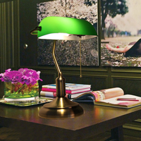 Зеленый Ретро настольные лампы с выдвижной выключатель цепи Стекло абажур сплав кронштейн ночники/исследование/офис/кафе винтажные Стол