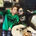 Nueva 2017 Otoño Invierno Cálido Lana Jersey sudadera Con Capucha de Las Mujeres Letras Impresas Sweatershirt Lentejuela Negro Verde Más El Tamaño S-2XL Z343